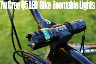 7w Cree Q5 LED bike cycle zoomable twin front torch Head / Front light