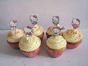 DANCING HELLO KITTY EDIBLE CUPCAKE/FAIRY CAKE TOPPERS **STAND UPS**HK3