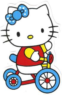Hello Kitty riding tricycle bike blue bow Decal Sticker