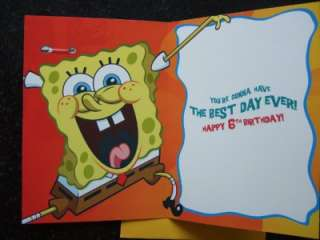 SPONGEBOB Squarepants AGE 4, 5, 6, 7 or 8 Birthday Card