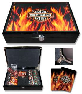 HARLEY DAVIDSON FLAME 200 CASINO POKER CHIP SET