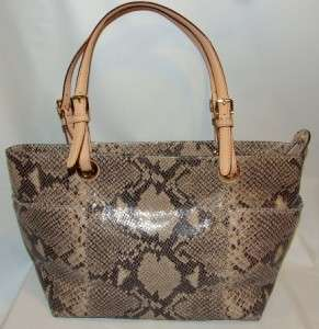 Michael Kors Jet Set Zip Top Embossed Python Embossed Leather Tote