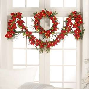 Winter Lane Poinsettias Lighted Wreath and Garland Set