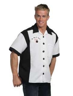 Bowling Shirt Black and White Adult Costume   Adult Costumes