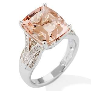 Morganite and Diamond Sterling Silver Cushion Cut Ring