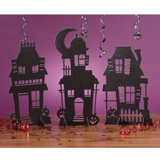 Haunted House Silhouettes Glitter Centerpiece   Package includes (3