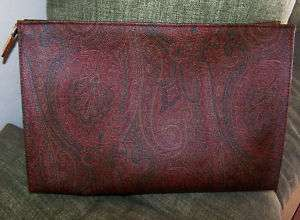 ETRO MILANO MAROON/BROWN PAISLEY FABRIC/LEATHER CLUTCH