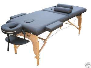 Black Portable Massage Table Facial bed Spa w/2 Bolsters and Carry