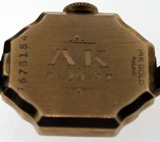 Antique Art Deco 14k Rose Gold Ladies Bulova Wrist Watch dated 7 29 47