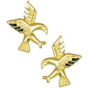 14k Yellow Gold Flying Birds Stud Earrings Jewelry