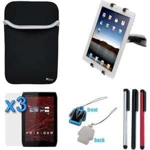 Car Dashboard Mount Holder + Black Neoprene Sleeve Case + 3 Pack LCD