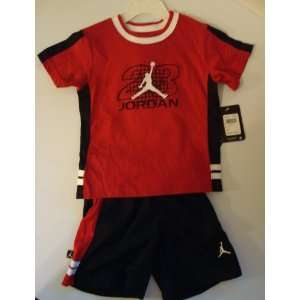 Nike Air Jordan Jumpman 23 Varsity Black Short Shirt Set, Size 3T