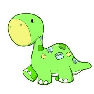 Childrens Wall Decals   Cartoon Green, Blue Baby Dinosaur