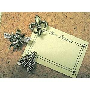 * T135AS Antique Silver Large Decorative Bees and Fl de Lis Push