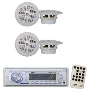 Pyle Marine Radio Receiver and Speaker Package   PLMR19W AM/FM MPX PLL