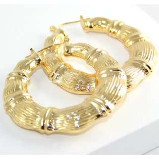 Big and Xtra Thick 2 Gold Plated Bamboo Hoop Earrings