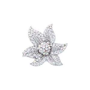 White Swarovski Crystal Starfish Brooch