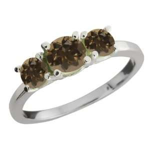 Round Brown Smoky Quartz Gemstone Sterling Silver Ring Jewelry
