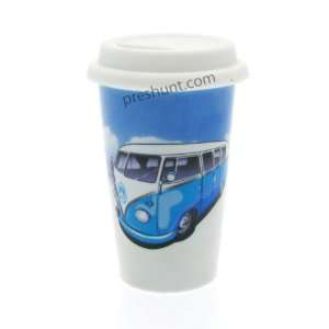 Camper Van (Blue) Double Wall Ceramic Travel Mug With Lid