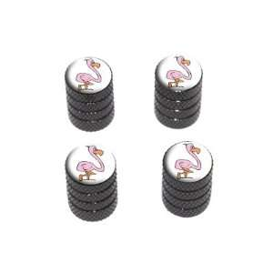Pink Flamingo   Tire Rim Wheel Valve Stem Caps   Black Automotive