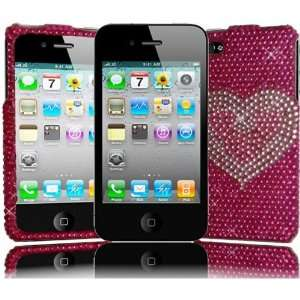 CDMA GSM Full Diamond Cover   Hot Pink Heart Hard Case Cell Phones