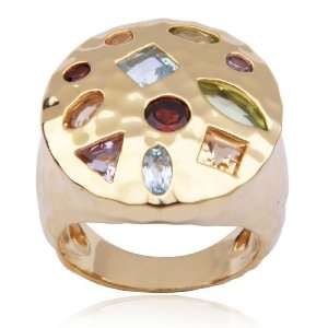 Gold Plated Sterling Silver Multi Gemstone Ring, Size 8 Jewelry
