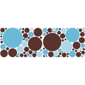 Chocolate Brown and 2 Blues Polka Dot Wall Stickers