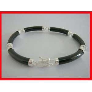 Black Onyx Asian Style Bracelet Sterling Silver #4396