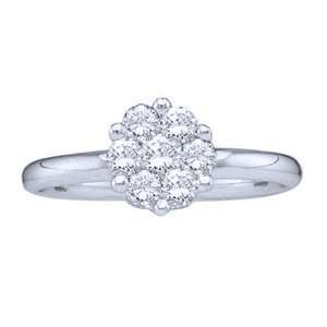White Gold, Diamond Flower Cluster Right Hand Ring (1.00 ctw) Jewelry