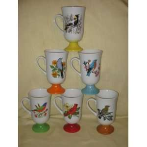 Bird Scene  Pedestal Irish Coffee Cups Mugs