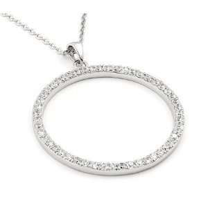 Sterling Silver Cubic Zirconia Paved Circle Pendant Necklace Jewelry