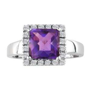 White Gold Square Cut Amethyst and Diamond Ring (1.90 cttw) Jewelry