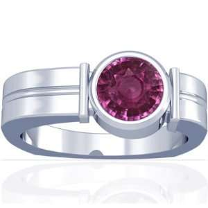 Platinum Round Cut Pink Sapphire Mens Ring Jewelry