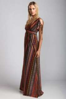 Tribal Print Maxi Dress with Open Shoulders & Empire Waist Clothing