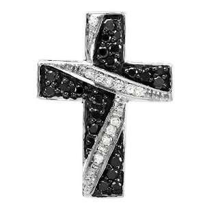 10k White Gold Round Black White Diamond Cross Ladies Pendant 1/3 CT