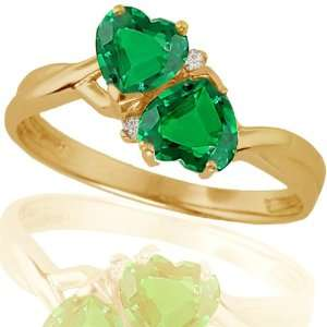 10k Yellow Gold Created Emerald and Diamond Heart Ring (.02 cttw, I J
