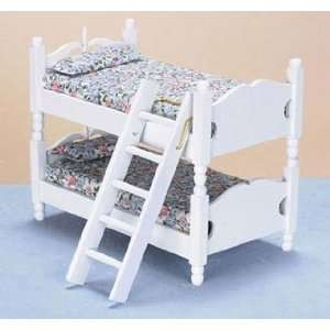 Dollhouse Miniature White Bunk Bed with Ladder Everything