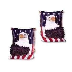AMERICAN FLAG PATRIOTIC EAGLE HEAD BOOK ENDS BOOKENDS