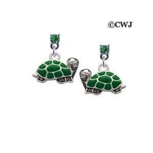 Turtle   Side Peridot Swarovski Post Charm Earrings Arts