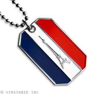 FLAG PARIS EIFFEL TOWER FRENCH TRICOLOR PENDANT DOG TAG CHAIN NECKLACE