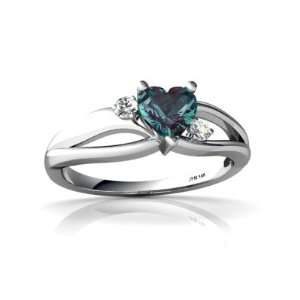 14K White Gold Heart Created Alexandrite Ring Size 7 Jewelry