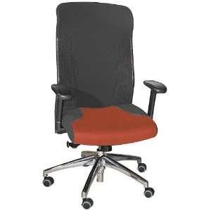 Executive Chair Chrome Base Sky Fabric/Black Mesh Back Office