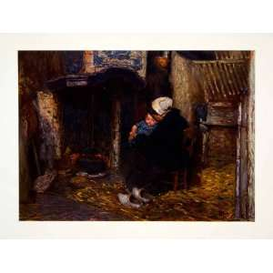 Art Little Baby Jacob Mother Hearth Fireplace   Original Color Print