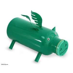 Recycled aluminum sculpture, Flying Green Pig