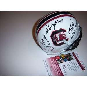 Autographed George Rogers Mini Helmet   Gamecocks 80hs Jsa