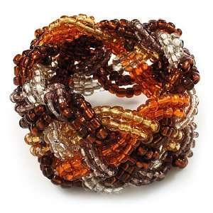 Braided Glass Bead Stretch Bracelet (Orange, Brown