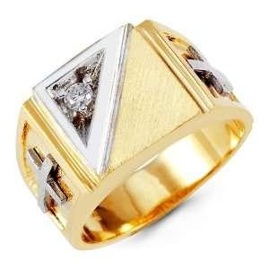 Mens 14k Yellow White Gold Round CZ Cross Band Ring Jewelry