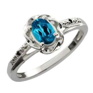 Ct Oval London Blue Topaz Black Diamond 10K White Gold Ring Jewelry
