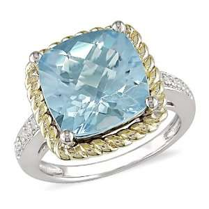10k Yellow Gold Plated Silver Blue Topazand Diamond Ring (.06 cttw, H
