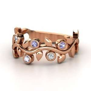 Liana Ring with Five Gems, 14K Rose Gold Ring with Tanzanite & Diamond